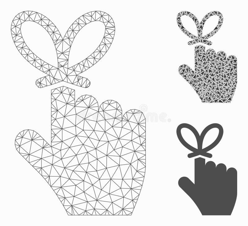 Pamięta kępki siatki Drucianej ramy trójboka i modela mozaiki Wektorową ikonę royalty ilustracja