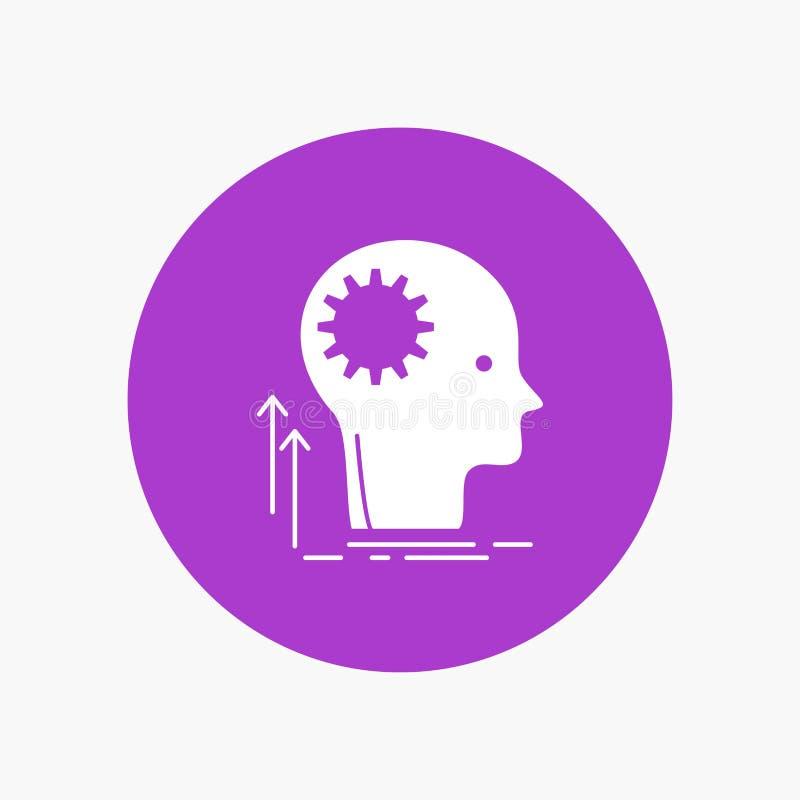 Pamięta, Kreatywnie, główkowanie, pomysł, brainstorming glifu Biała ikona w okręgu Wektorowa guzik ilustracja ilustracji