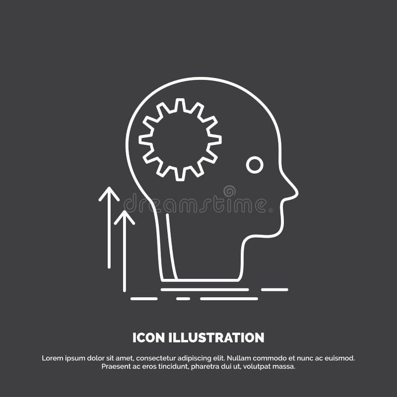 Pamięta, Kreatywnie, główkowanie, pomysł, brainstorming ikona Kreskowy wektorowy symbol dla UI, UX, strona internetowa i wisz?cej royalty ilustracja