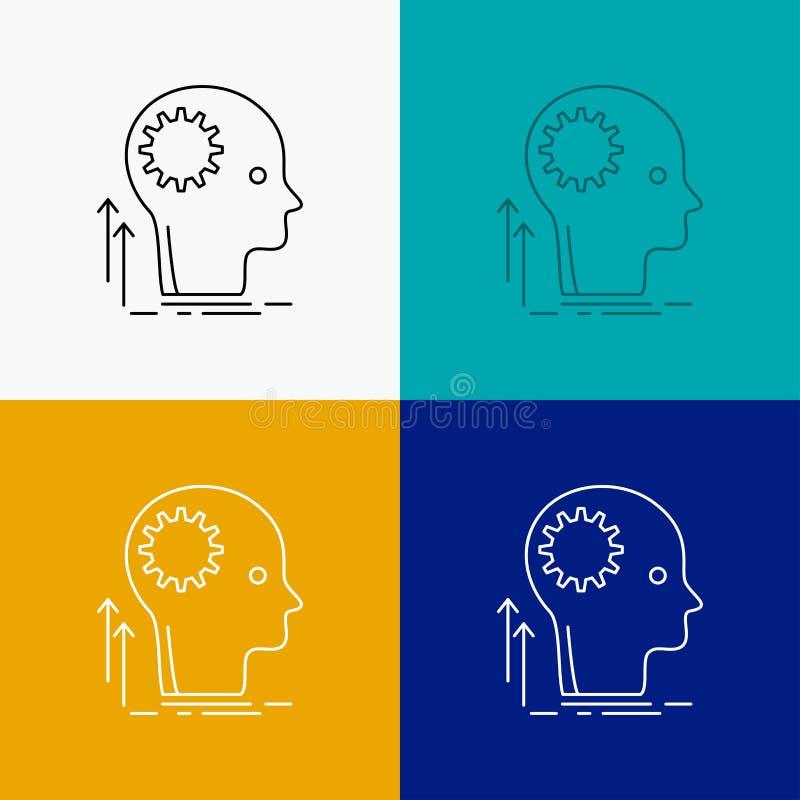 Pamięta, Kreatywnie, główkowanie, pomysł, brainstorming ikona Nad Różnorodnym tłem Kreskowego stylu projekt, projektuj?cy dla sie royalty ilustracja