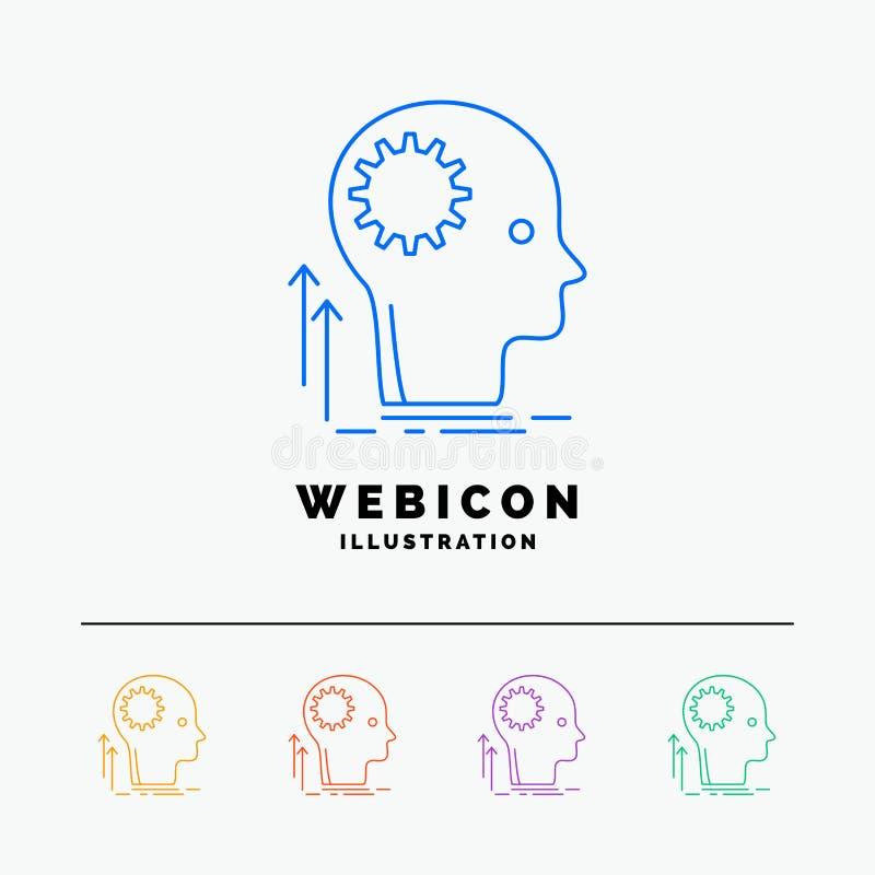 Pamięta, Kreatywnie, główkowanie, pomysł, brainstorming 5 koloru linii sieci ikony szablon odizolowywający na bielu r?wnie? zwr?c ilustracja wektor