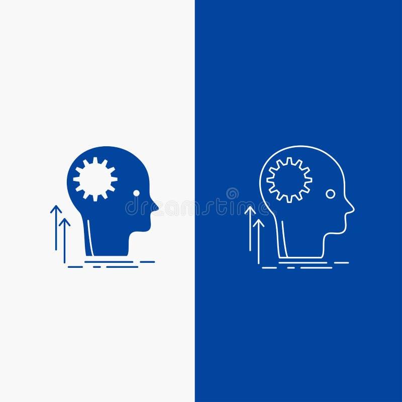 Pamięta, Kreatywnie, główkowanie, pomysł, brainstorming linia i glif sieci guzik w Błękitnego koloru Pionowo sztandarze dla, stro ilustracji