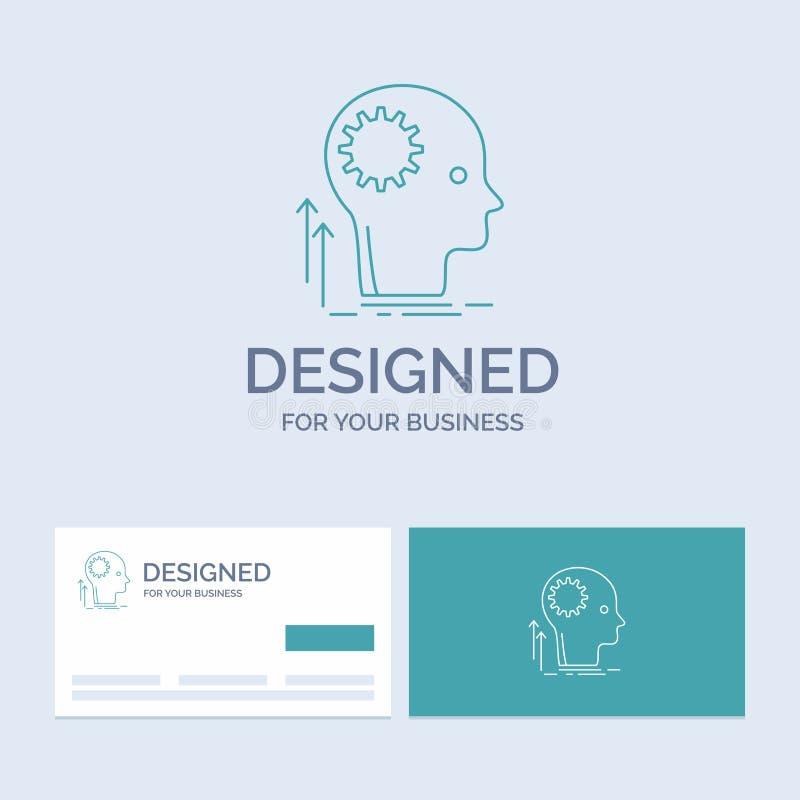 Pamięta, Kreatywnie, główkowanie, pomysł, brainstorming logo linii ikony Biznesowy symbol dla twój biznesu Turkusowe wizyt?wki z royalty ilustracja