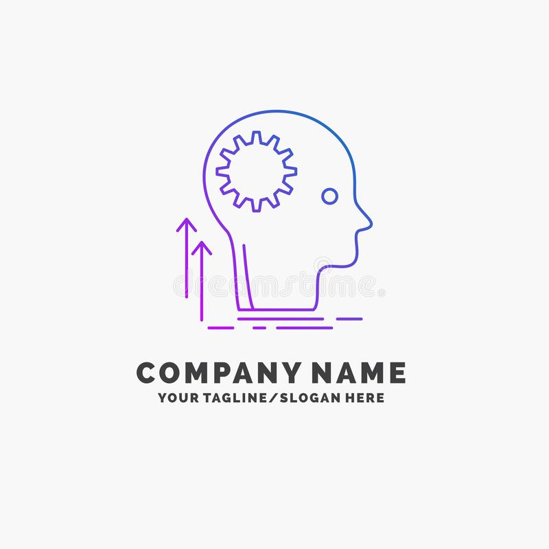 Pamięta, Kreatywnie, główkowanie, pomysł, brainstorming logo Purpurowy Biznesowy szablon Miejsce dla Tagline royalty ilustracja