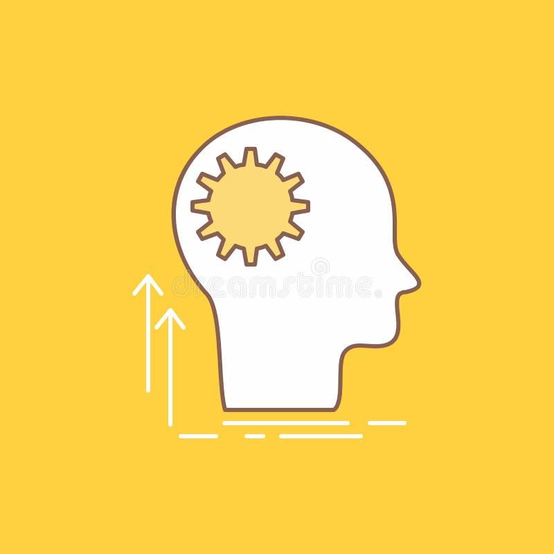 Pamięta, Kreatywnie, główkowanie, pomysł, brainstorming mieszkania linia Wypełniająca ikona Pi?kny logo guzik nad ? ilustracja wektor