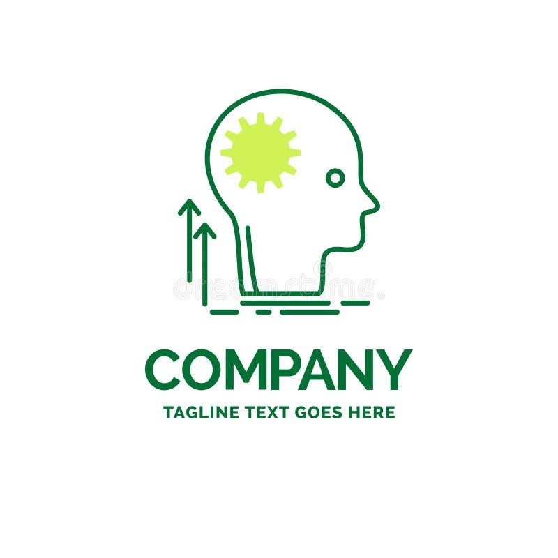 Pamięta, Kreatywnie, główkowanie, pomysł, brainstorming Płaski Biznesowy logo ilustracja wektor