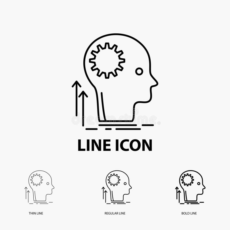 Pamięta, Kreatywnie, główkowaniu, pomysł, brainstorming ikona w Cienkim, Miarowym i Śmiałym Kreskowym stylu, r?wnie? zwr?ci? core ilustracja wektor