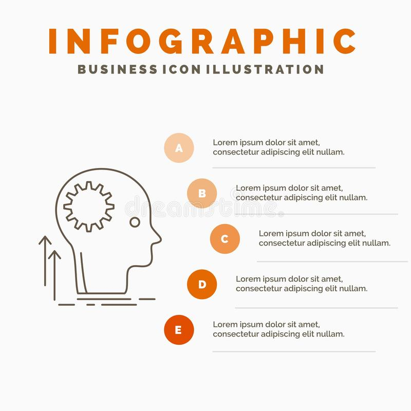 Pamięta, Kreatywnie, główkowaniu, pomysle, brainstorming Infographics szablonie dla strony internetowej i prezentacjo, Kreskowa S ilustracja wektor