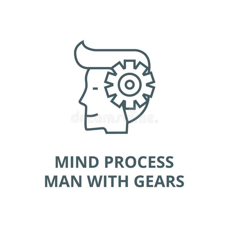 Pamięta proces, mężczyzna z przekładnia wektoru linii ikoną, liniowy pojęcie, konturu znak, symbol royalty ilustracja