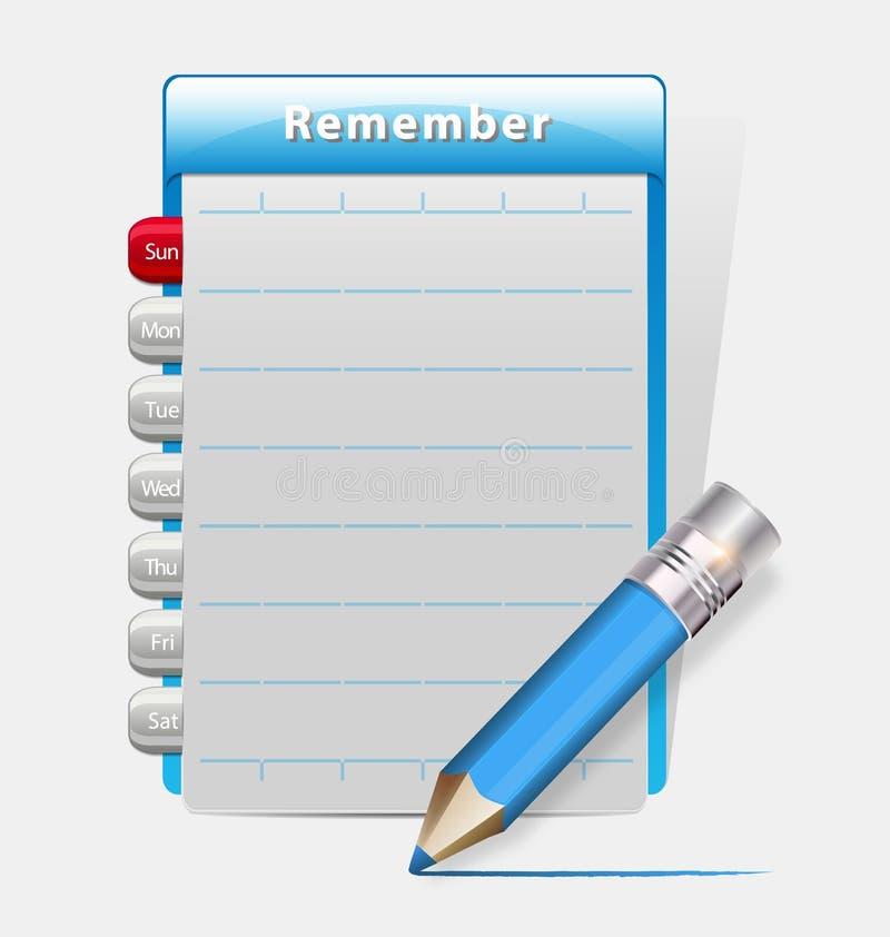 Pamięta pustego dzienniczek z błękitnym ołówkiem ilustracji