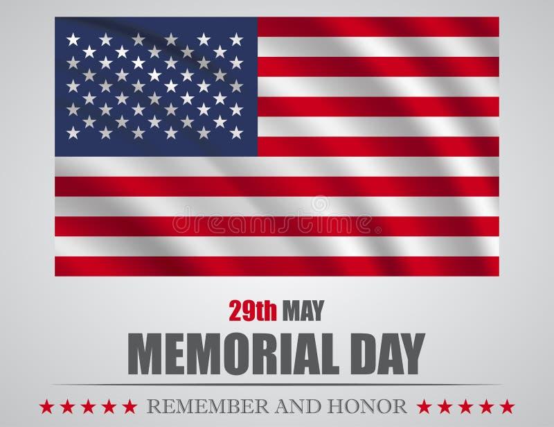 Pamięta sztandar dla dnia pamięci i honoruje Flaga amerykańska na szarym tle ilustracji