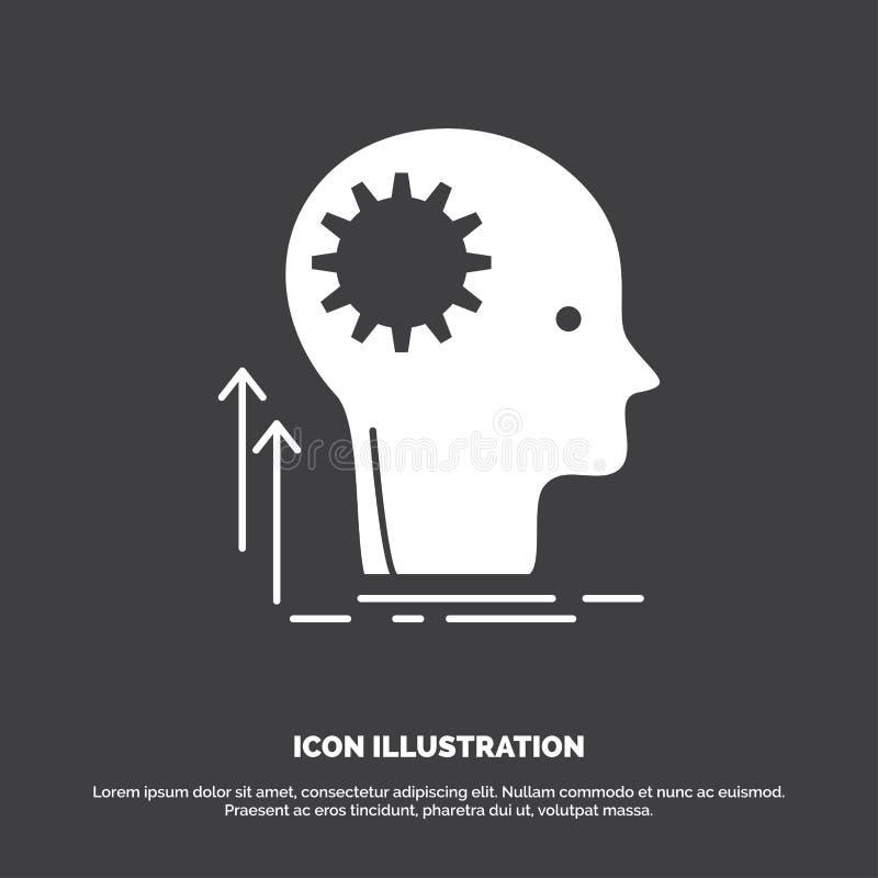Pami?ta, Kreatywnie, g??wkowanie, pomys?, brainstorming ikona glifu wektorowy symbol dla UI, UX, strona internetowa i wisz?cej oz royalty ilustracja