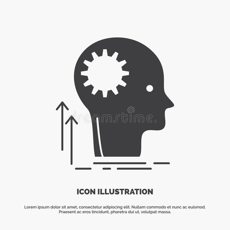 Pami?ta, Kreatywnie, g??wkowanie, pomys?, brainstorming ikona glifu wektorowy szary symbol dla UI, UX, strona internetowa i wisz? ilustracji