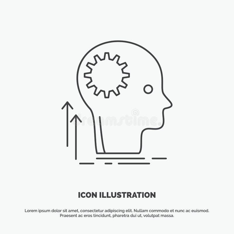 Pami?ta, Kreatywnie, g??wkowanie, pomys?, brainstorming ikona Kreskowy wektorowy szary symbol dla UI, UX, strona internetowa i wi ilustracji