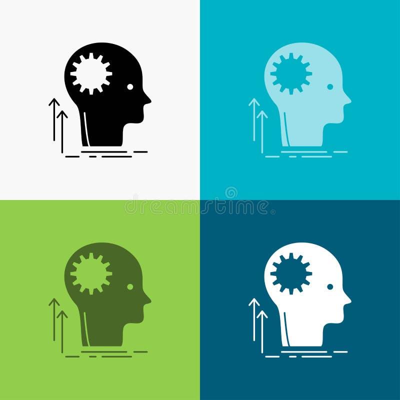 Pami?ta, Kreatywnie, g??wkowanie, pomys?, brainstorming ikona Nad R??norodnym t?em glifu stylu projekt, projektuj?cy dla sieci i  royalty ilustracja
