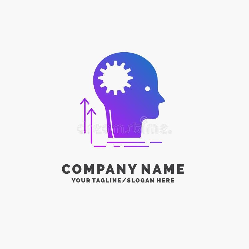 Pami?ta, Kreatywnie, g??wkowanie, pomys?, brainstorming logo Purpurowy Biznesowy szablon Miejsce dla Tagline ilustracja wektor