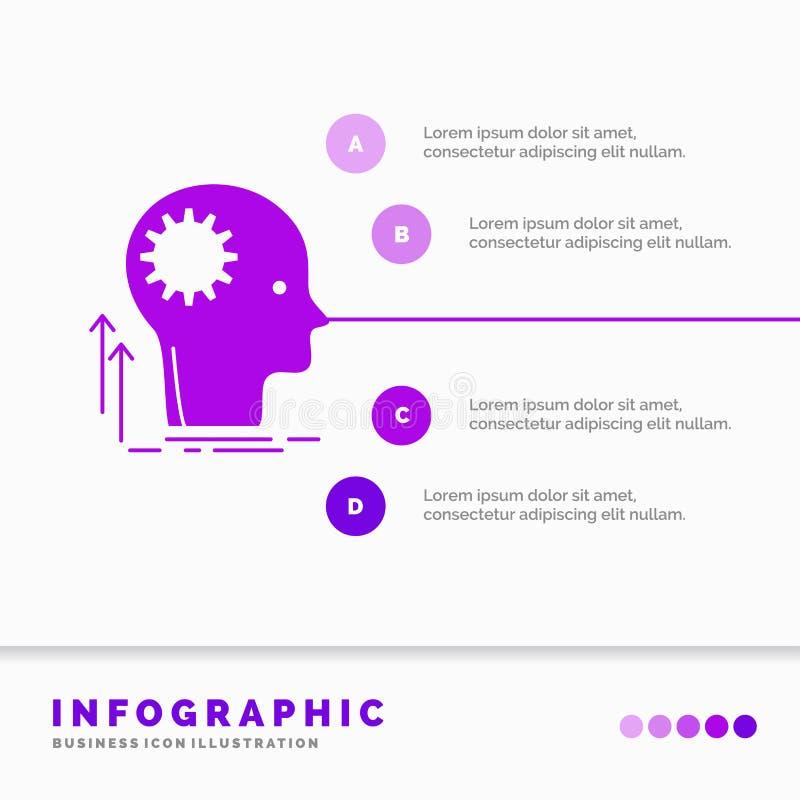 Pami?ta, Kreatywnie, g??wkowaniu, pomysle, brainstorming Infographics szablonie dla strony internetowej i prezentacjo, glif Purpu royalty ilustracja