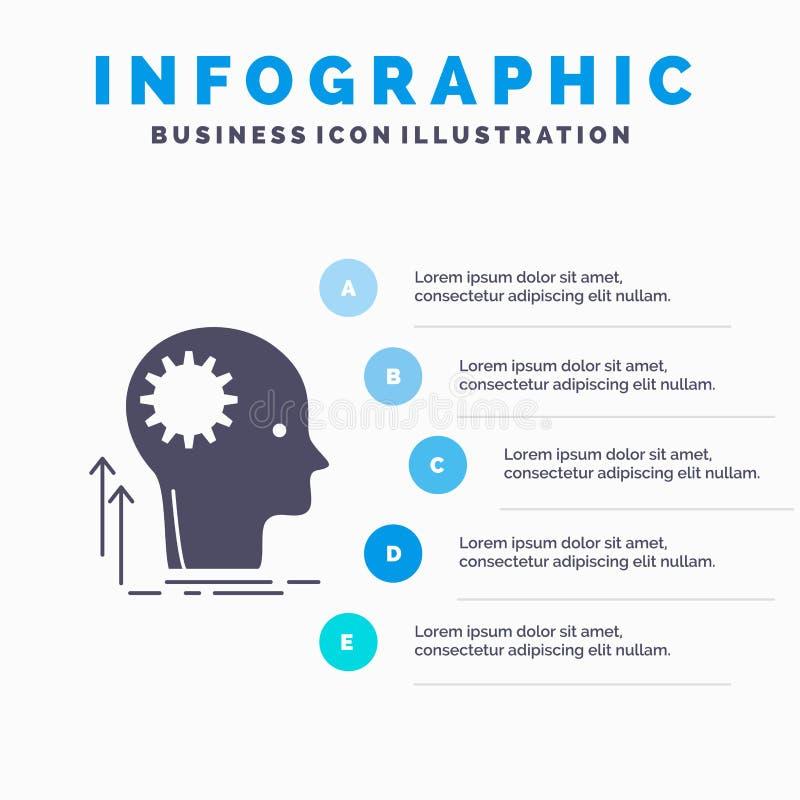 Pami?ta, Kreatywnie, g??wkowaniu, pomysle, brainstorming Infographics szablonie dla strony internetowej i prezentacjo, glif Szara ilustracja wektor