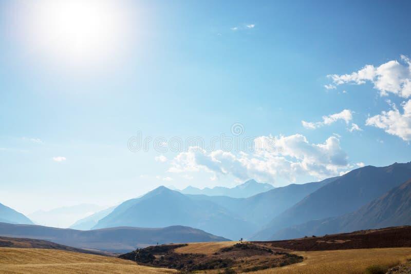 Peruvian pampa. Pampas landscapes in Cordillera de Los Andes, Peru, South America stock image