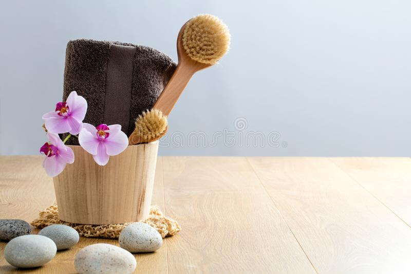 Pamper, exfoliate, wash up, cleanse, dry brush, detox for wellbeing. Pamper, exfoliate, wash up, cleanse, dry brush, detox for zen wellbeing and natural stock image