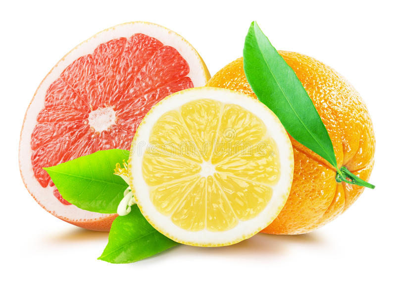 Pamplemousse, citron et orange d'isolement sur le fond blanc photo libre de droits