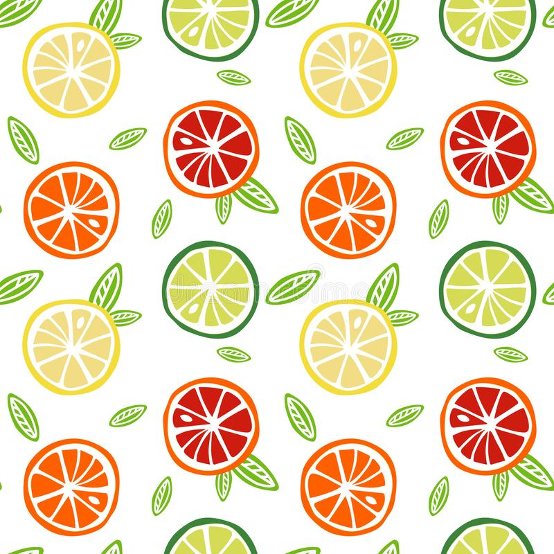 Pamplemousse jaune de rouge orange de chaux de vert de citron de fruit avec le vert illustration stock
