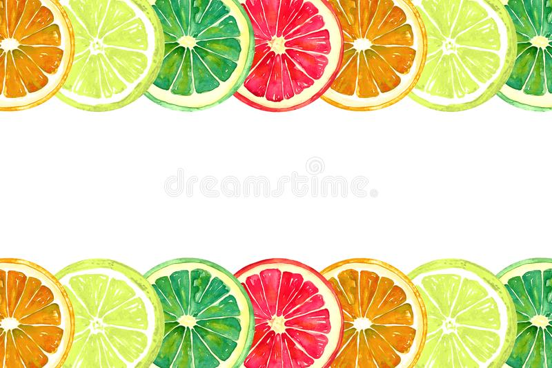 Pamplemousse, orange, chaux et citron, traits horizontaux illustration stock
