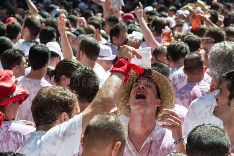 Pamplona fiestaspring med tjurar San Fermin fotografering för bildbyråer