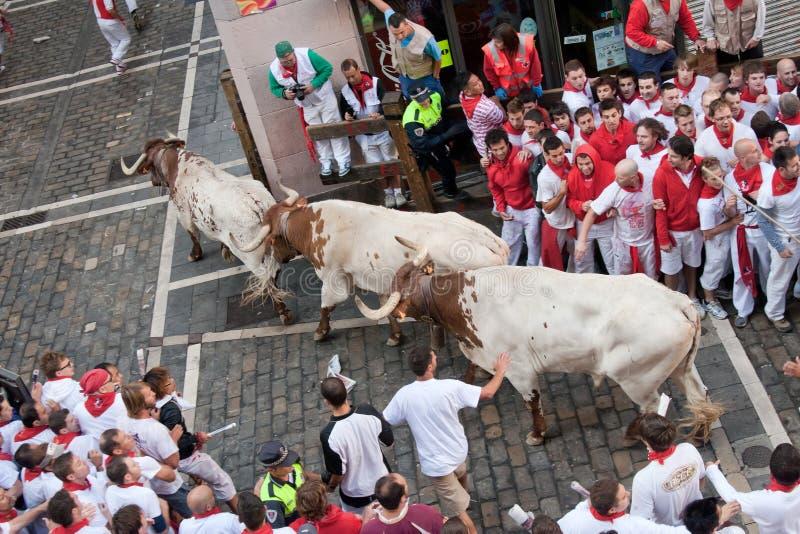PAMPLONA, SPAGNA - 8 LUGLIO: Esecuzione di tori giù la via fotografia stock libera da diritti