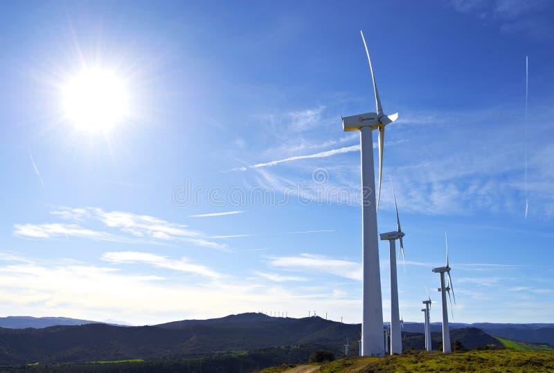 Pamplona, Spain - April 2nd 2015: Windmills stock photos