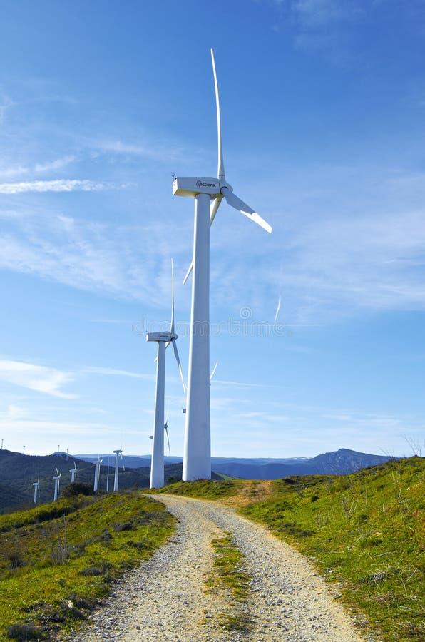 Pamplona, Spain - April 2nd 2015: Windmills royalty free stock photos