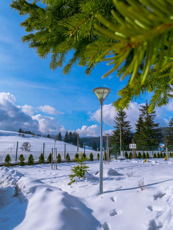 Pamporovo Ski Slope, Bulgaria.  royalty free stock image