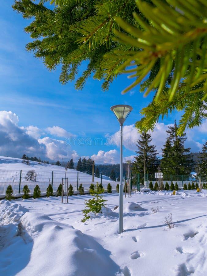 Pamporovo Ski Slope, Bulgarien lizenzfreies stockbild