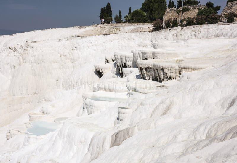 Pamukalle, travertins de carbonate de calcium de la Turquie images libres de droits
