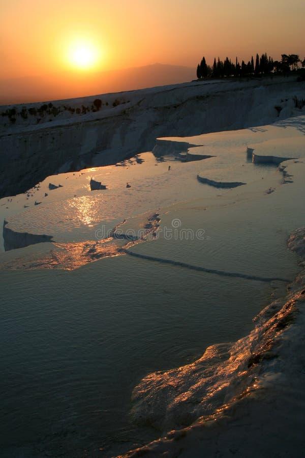 pamukkale ηλιοβασίλεμα στοκ εικόνες