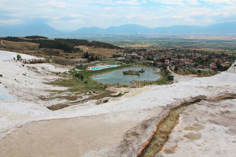 Pamukkale - замок хлопка, провинция Denizli в юго-западном турке стоковое изображение