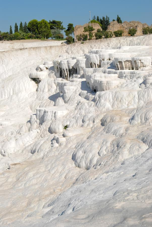 pamukkale кальция близкое складывает индюка вместе травертина террас вверх по воде стоковая фотография rf