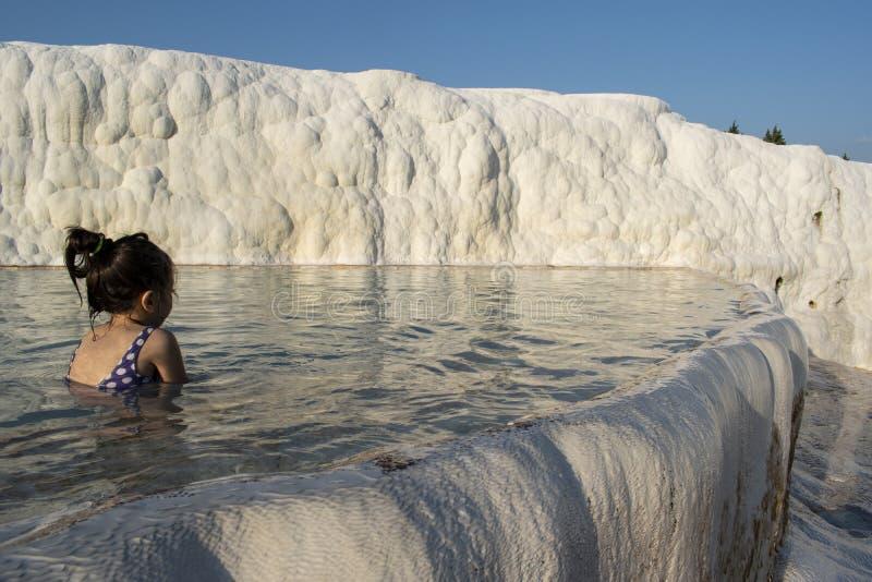 Pamukkale, Denizli, Турция, террасы травертина, замок хлопка, белизна, горячие источники, восходящий поток теплого воздуха, спа,  стоковая фотография rf