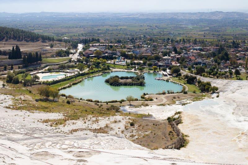 Pamukkale with lakes and white travertines, Turkey royalty free stock photo