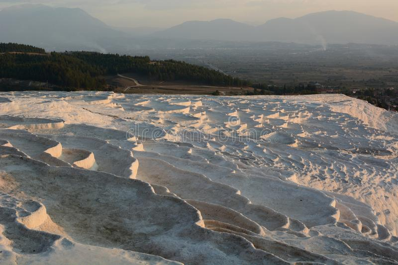 Travertine terrace formations at Pamukkale. Denizli province. Turkey. Pamukkale, meaning cotton castle in Turkish, is a natural site in Denizli in southwestern stock photos