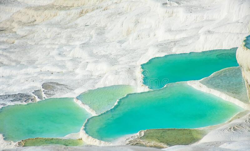 Pamukkale, natural pool with blue water, Turkey stock photos