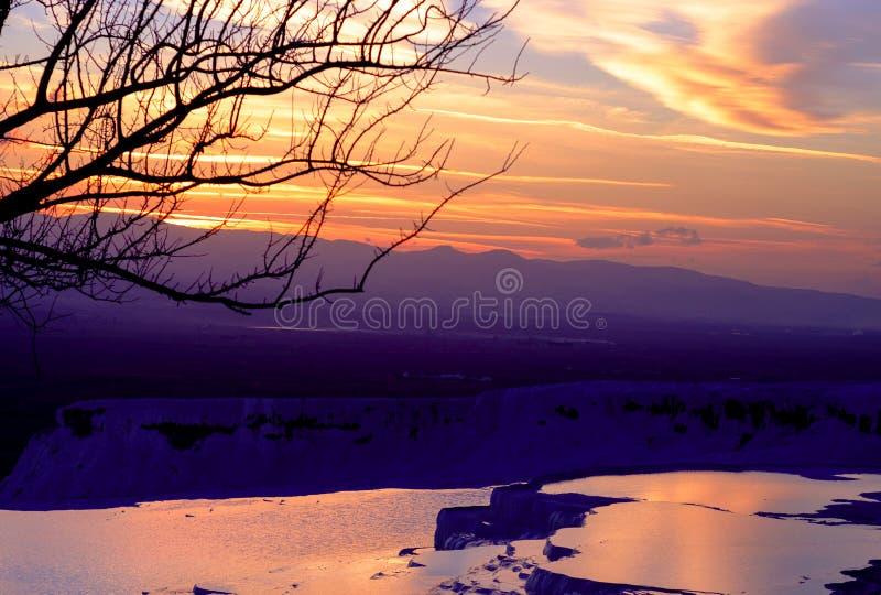 Pamukkale sunset royalty free stock images