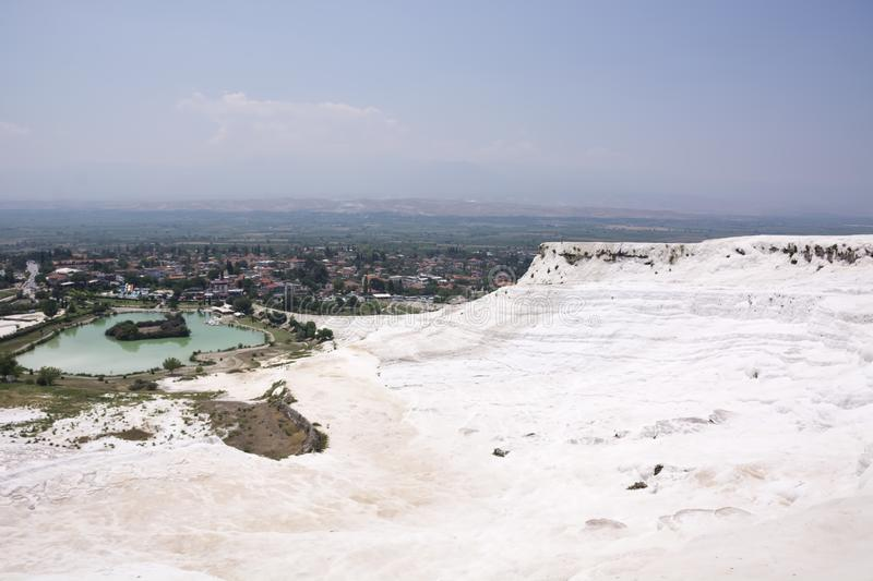 Pamukkale travertine pools and terraces carbonate mineral at ancient Hierapolis, Turkey stock photography