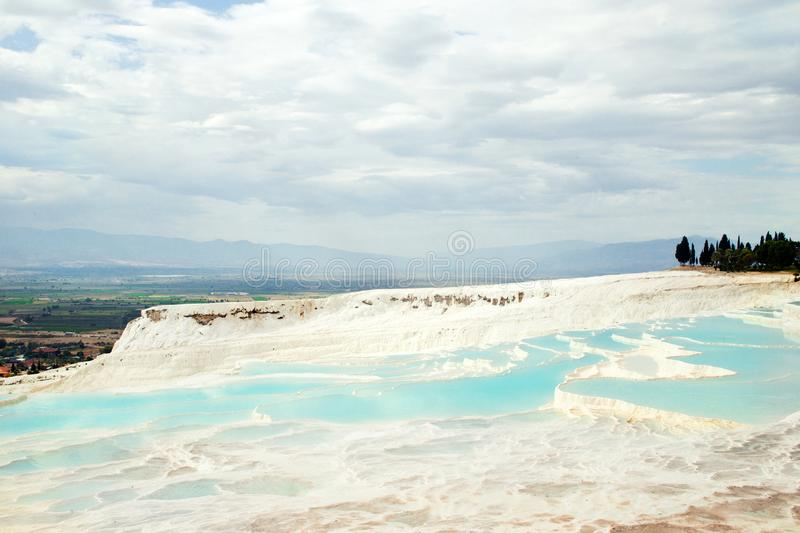 Pamukkale Travertines in Denizli, Turkey. Beautiful landscape with sky royalty free stock images