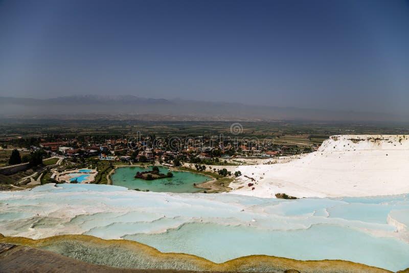 Pamukkale, Turkey. Landscape with travertine terraces royalty free stock photo