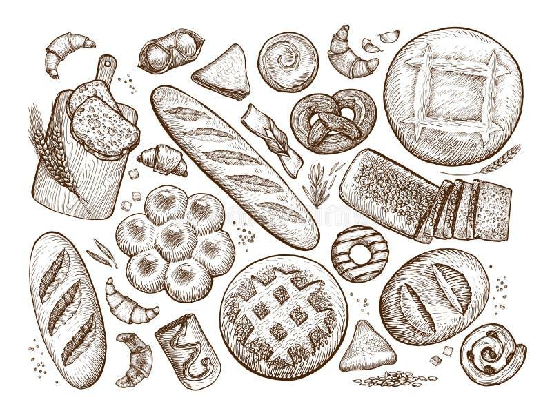 Pan, bosquejo de la repostería y pastelería Panadería, bakeshop, concepto de la comida Ejemplo del vector del vintage ilustración del vector