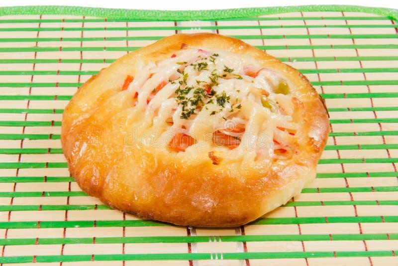 Pan con el palillo y la mayonesa del cangrejo imagen de archivo