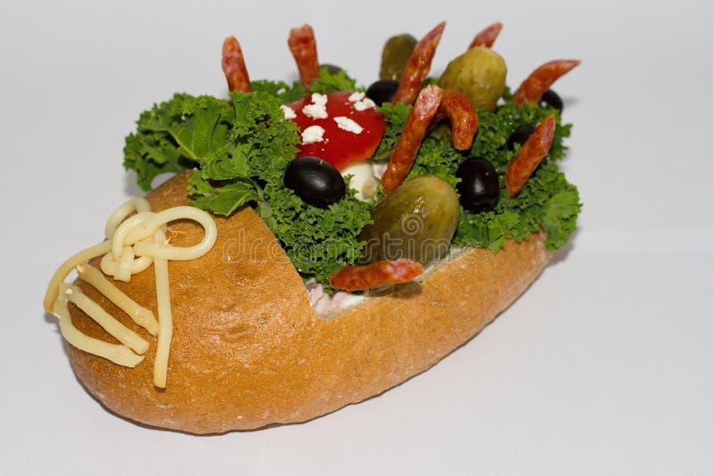 Pan con el salami foto de archivo libre de regalías