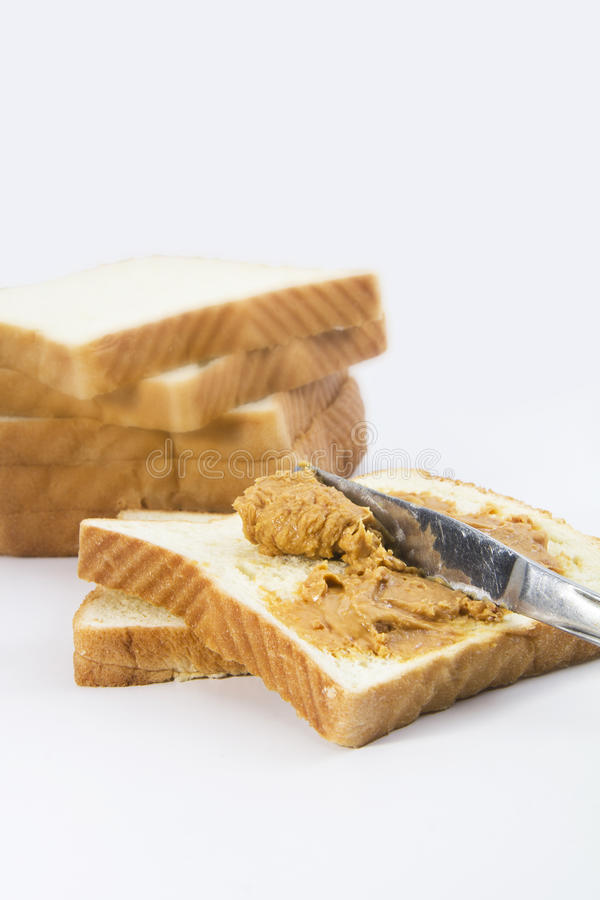 Pan con los cacahuetes del atasco fotos de archivo