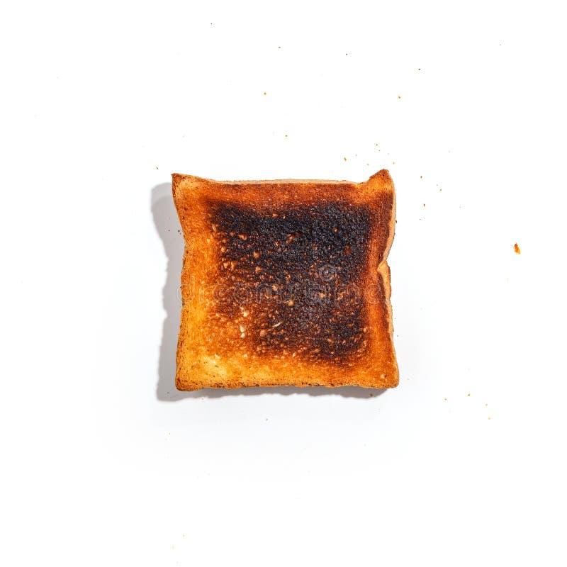 Pan cortado de la tostada aislado en el fondo blanco Visión superior fotos de archivo libres de regalías